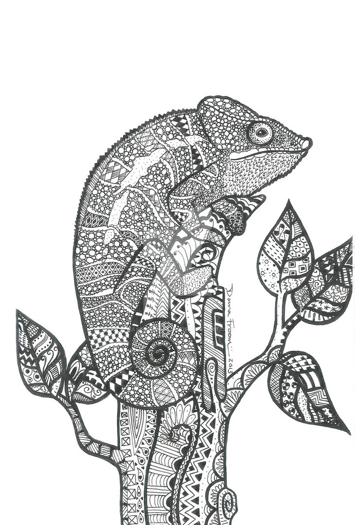 Animal Mandala Chameleon Drawing