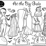 Big Gala Party Paper Doll Coloring Page