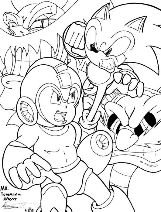 Crossover Ssonic Vs Mega Man Coloring And Drawing