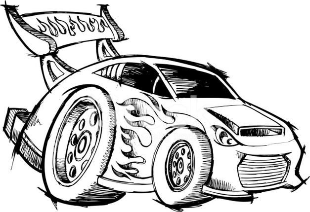 Hot Rod Race Car Coloring Page Printable
