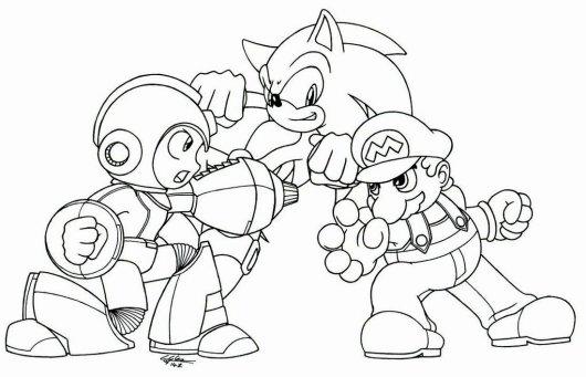 Megaman Vs Sonic Vs Mario Coloring Picture To Print