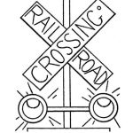 Rail Way Crossing Sign Safety Coloring Sheets