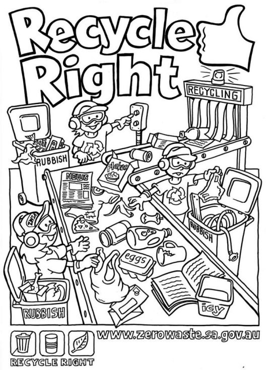 Free Recycling Coloring Pages Printable
