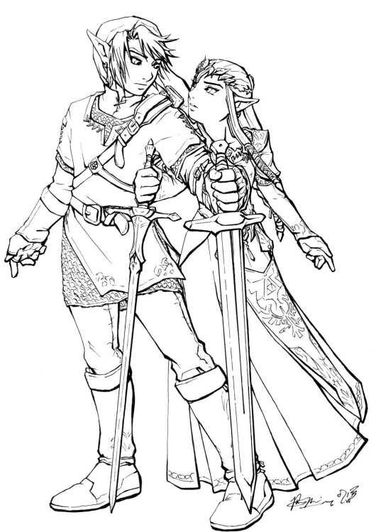 Link And Zelda Coloring Page