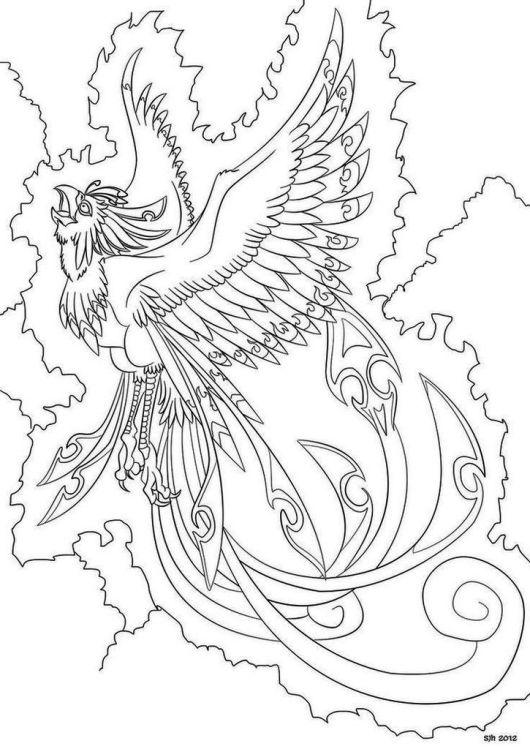 Phoenix Bird Coloring Page Printable