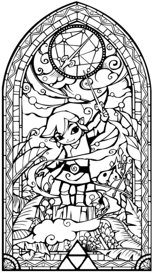 Stained Glass Zelda Coloring Page