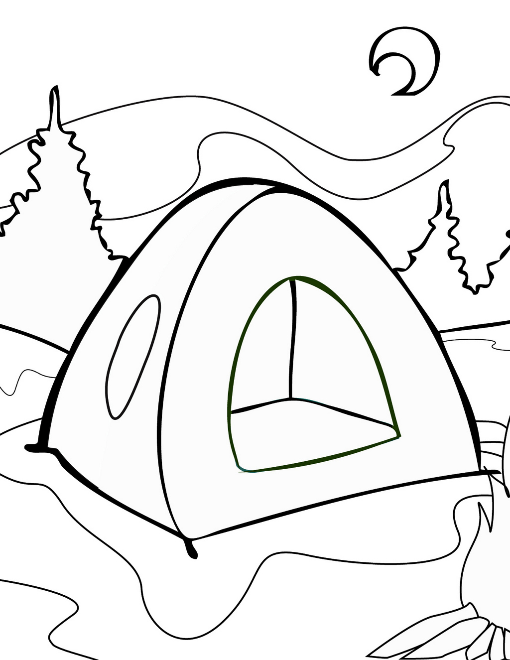 Tent Colouring Sheet For Kids 1