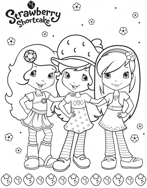 Strawberry Shortcake Berry Friends Coloring Sheet