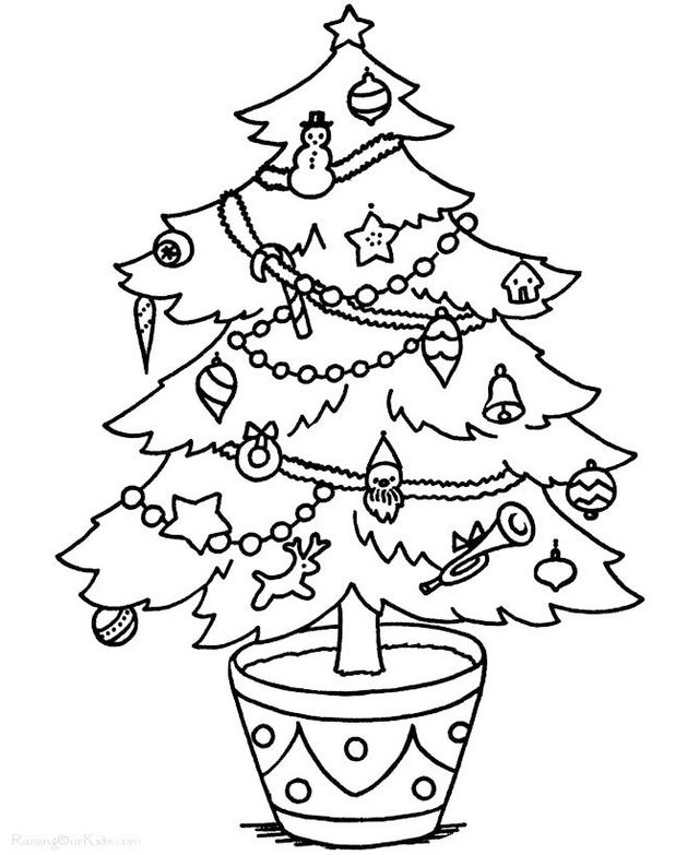 creative christmas tree coloring pages