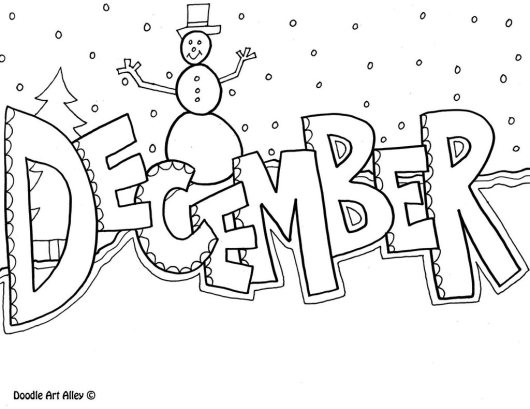 december month of the year printable coloring page