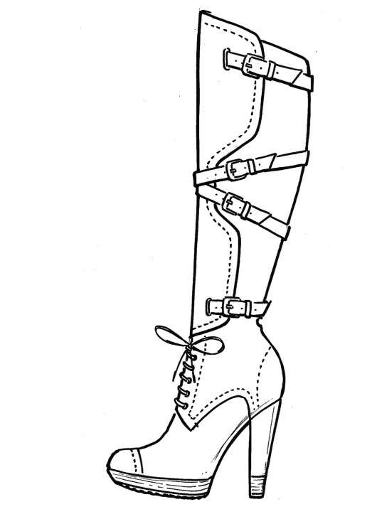 High Heeled Boots Coloring Page Shoes