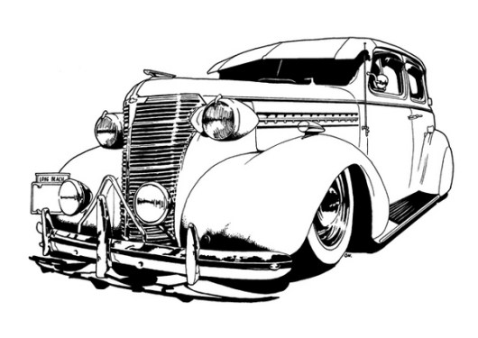 Lowrider Car Drawing Line