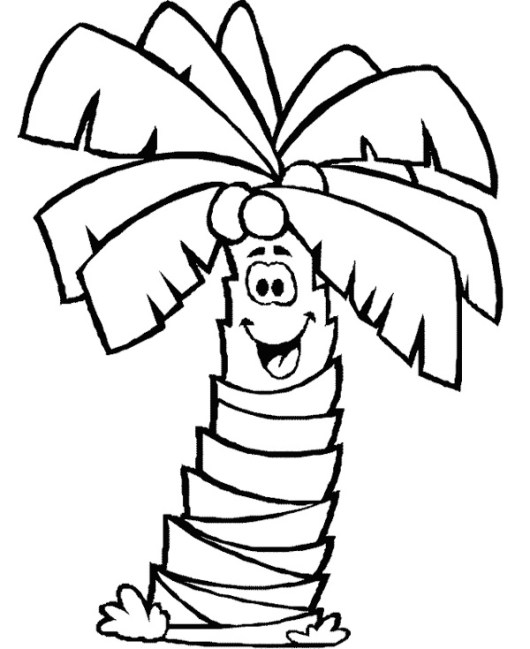 palm tree clip art of coloring page
