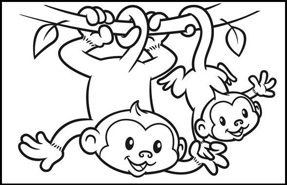 2 cute monkey cartoon coloring sheet