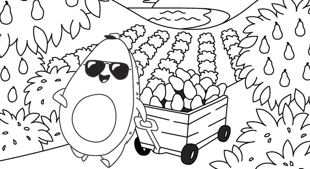 Avocado Garden Coloring Sheets