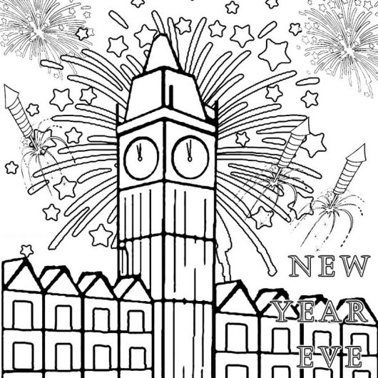 Fireworks Big Ben Coloring Sheets