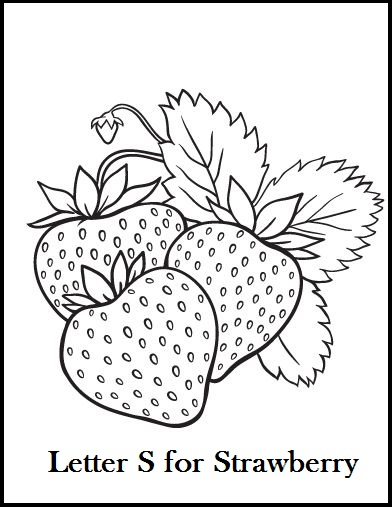 Letter S for Strawberry coloring page