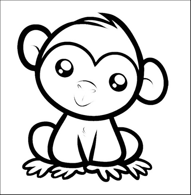 Little Monkey Coloring and Drawing sheet