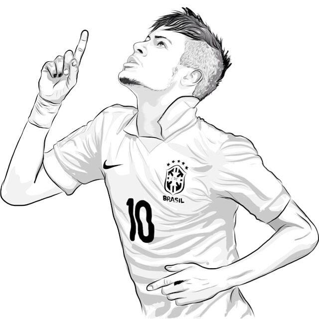 Neymar top soccer player coloring sheet