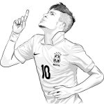 Neymar top soccer player coloring sheet