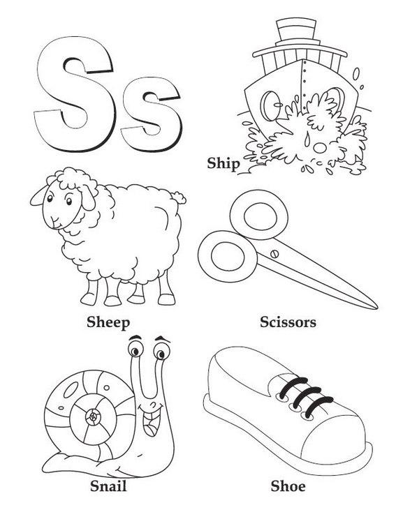 S alphabet atoz coloring kids coloring page