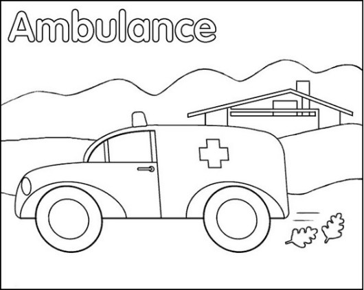 ambulance coloring sheet for kids