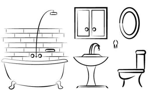 bathroom coloring page design