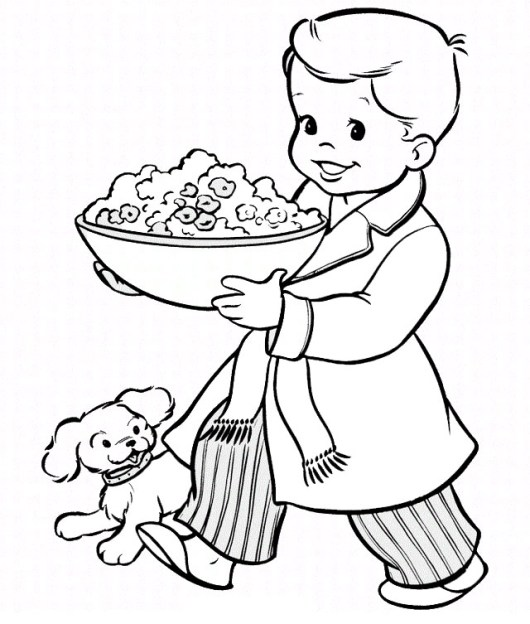 boy bringing a bowl of pop corn coloring picture