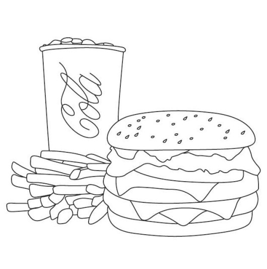 burger cola and potatoes fries coloring page