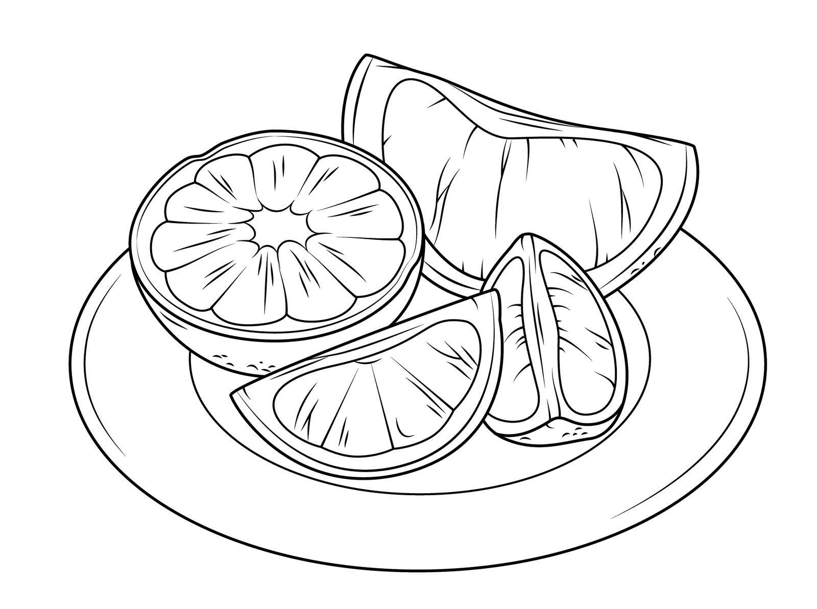 citrus fruits coloring page online