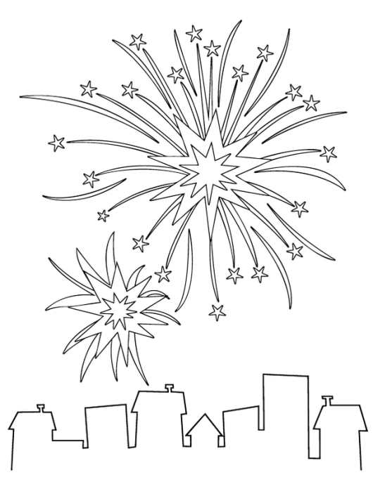 fireworks on the top building coloring sheet