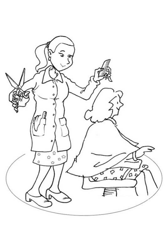hair cutting by hairdresser coloring sheet
