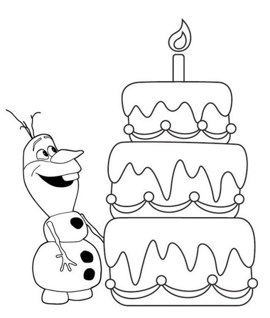 olaf and birthday cake coloring sheet