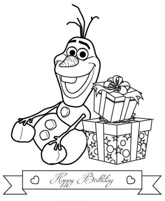 olaf birthday with gifts coloring page