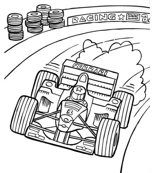 racing car formula one coloring printable page