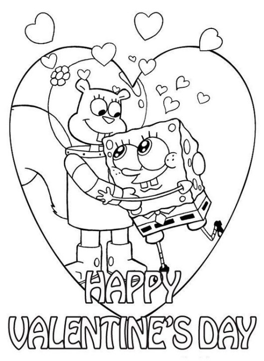 spongebob valentine day coloring picture