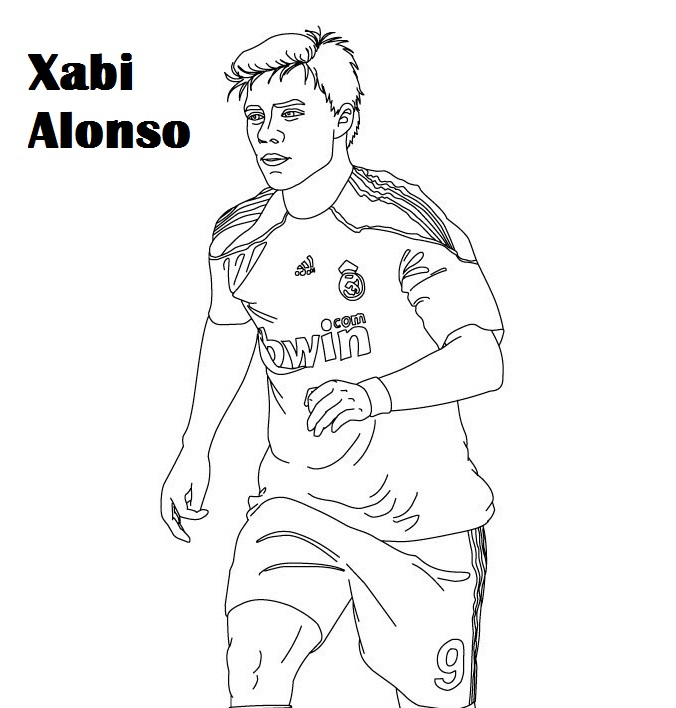 the best Xabi Alonso soccer player coloring sheet
