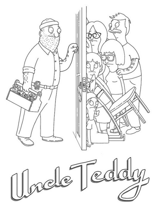 uncle teddy bobs burgers coloring page