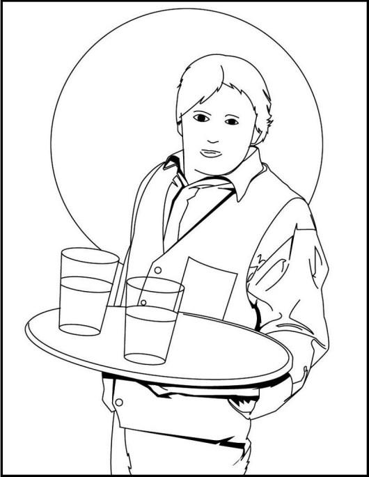 waiter delivers order coloring book