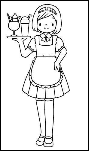 waitress job coloring picture
