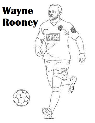 wayne rooney Manchester United Soccer Player Coloring Page