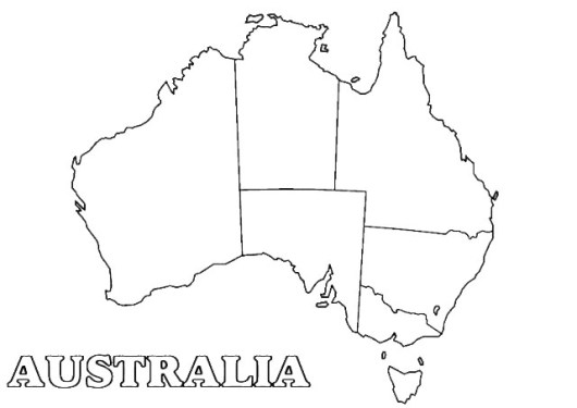 Australia Map Coloring Page