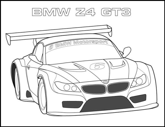 BMW Z4 GT3 Car Coloring Page