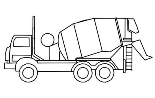 Cement Truck Coloring Sheet Outline