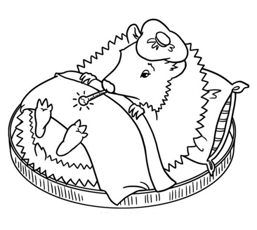 Cute Hedgehog getting sick coloring sheet for kids