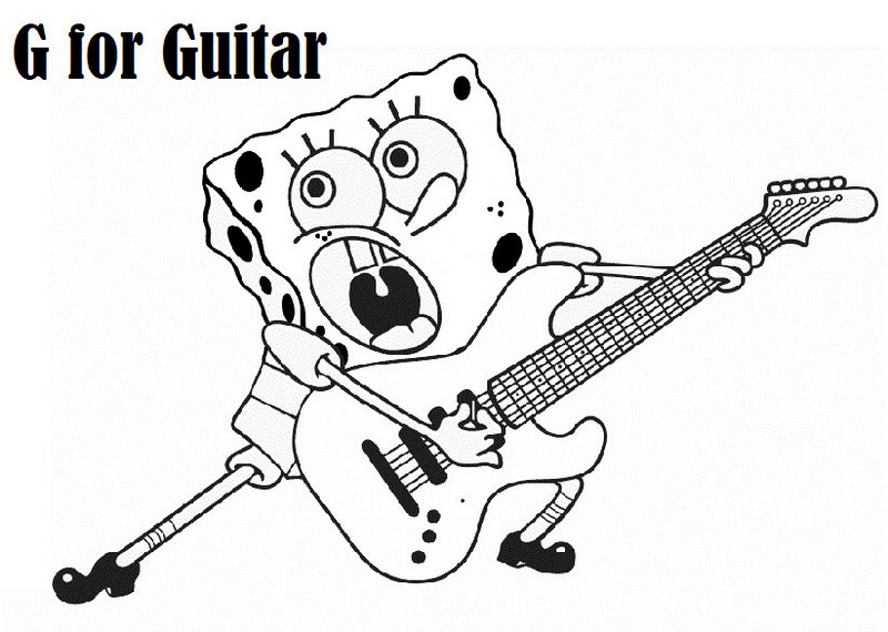 G for Guitar Coloring Sheet with Spongebob theme page