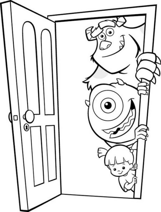James P Sullivan Boo and Mike Wazowski from Monster Inc Coloring Picture