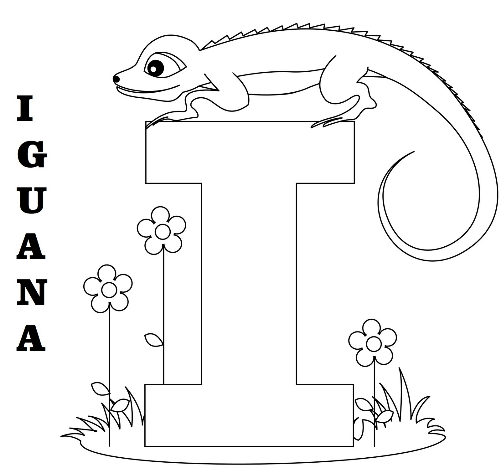 Letter I for Iguana Coloring Picture