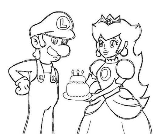 Princess Peach and Luigi Coloring Birthday Cake Page