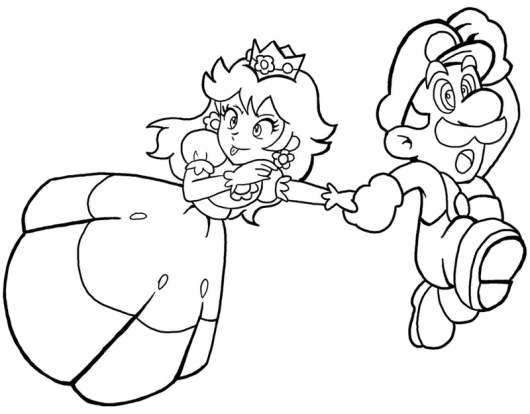 Princess Peach and Mario Coloring Book for Kids